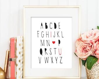 I Love You Alphabet Nursery Printable, Nursery Printable, Nursery Wall Art, Alphabets Poster, Kid's Room Wall Art, I Love You Art Print 158