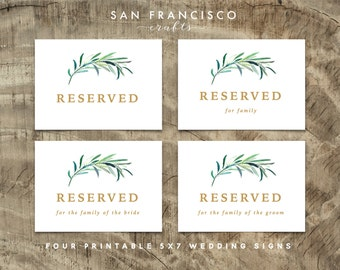 Wedding Reserved Signs | 4x6 and 5x7 - Set of 4  | Eucalyptus Collection  -  INSTANT DOWNLOAD