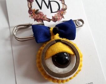 Yellow Bean Wearable Art Time Keeper Kilt Pin by Winnifreds Daughter