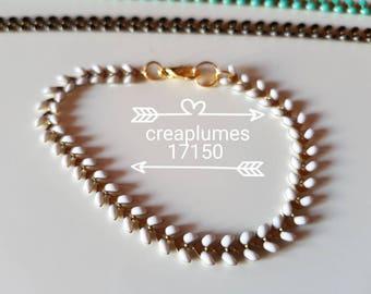 Gorgeous all gold herringbone bracelet sizes white, turquoise or black
