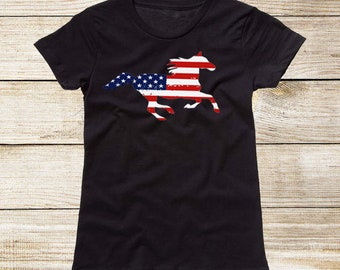 Girls Patriotic Running Horse T-Shirt - Running Arabian Horse with American Flag Pattern - July 4th Fourth