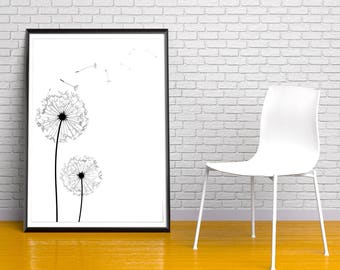 Dandelions poster Scandinavian Wall Art. Minimalist poster. Dandelions Print. Dandelion Art. Modern Graphic Design Loft Nordic Home Decor.