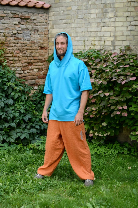 trousers Harem Wide Orange Unisex for Pants linen man Meditation Yoga Orange Pants woman linen Linen Loose pants baggy Pants Pants Ow0Sq6