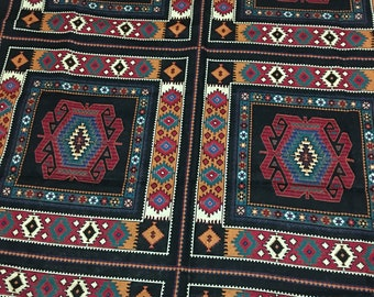 VTG 90s Bold Native American Boho Navajo Fabric 3yds