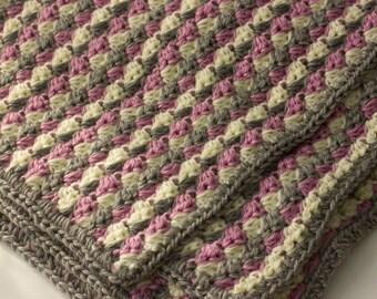 Throw Blanket, Crochet Lap  Blanket, Small  Afghan, Reading Blanket, Hand Crocheted Throw, Nursing Home Gift, Gift for Grandmother