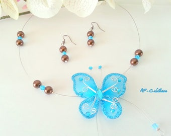 chocolate and turquoise Butterfly wedding set
