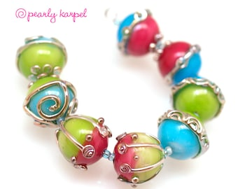 pink, blue and green 16mm round Handmade lampwork glass beads SRA set of 8 Lampwork Beads, Unique Colorful Beads for Crafts