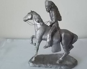 Rare~Ricker Bartlett~Vintage~Large~Pewter~Native American Indian Chief + Horse~STATUE~Figurine~70's~Well~Detailed~Collectable~Fine Pewter~