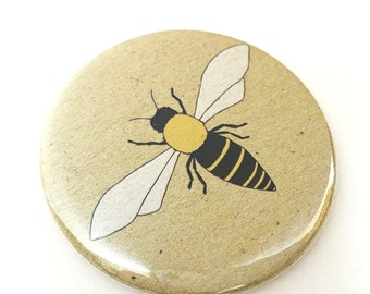 Honey bee pocket mirror - bee compact mirror - nature / wildlife / illustrated gift - bee print - bee gift