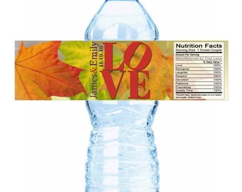 20 Autumn Leaves Love Wedding Fall Themed Water Bottle Labels - Fall Decor - Love Bottle Labels - Fall Water Bottle Labels - Autumn Colors