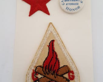 Vintage 1946 rare Camp Fire Girls embroidered patch and 34th Birthday celluloid pin and star.
