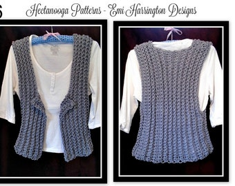Crochet Vest PATTERN- women's vest, teen vest, clothing, Grey Vest # 996, Adult small to plus size, crochet pattern, women's vest, clothing