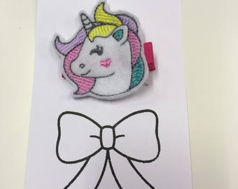 Unicorn embroidered hair clip