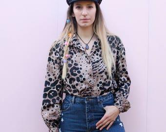Vintage 80's Leopard Print Shirt