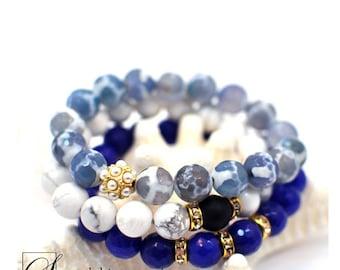 Stacking Charm Bracelet, Blue Bracelet Set, Stackable Bracelet, Beaded Bracelet, Layering Bracelet, Gemstone Bracelet, Gift For Her