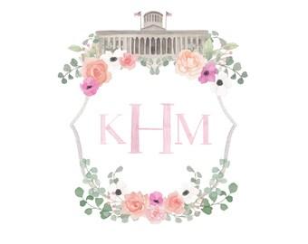 Fully Custom Watercolor Crest; Wedding Crest; Floral Crest; Heraldry; Housewarming Gift; Custom Crest
