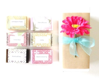 Mothers Day Gift, Lovely Gift Set, Handcrafted Soap, Sample Soap Gift Box, Hostess Gift, Thank you gift