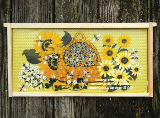 Original Honey Bee Painting Hive Skep With