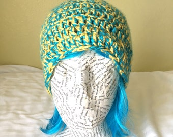 Yellow and Blue Multi-color Crocheted Beanie, Child/Teenage/Adult Beanie