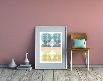 Scandi Dots Art Print. Circle Print. Geometric Art Print