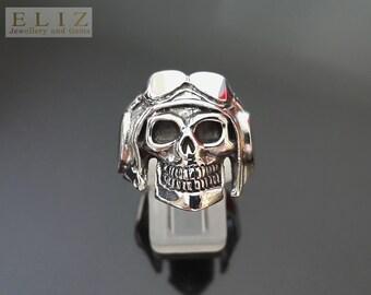 Old School Aviator  Skull .925 Sterling Silver Ring Biker Punk Rocker Goth