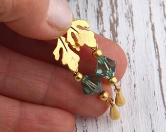 Sea Green, Bead Dangles, Swarovski Bead Dangles,Earring Bead Dangles, 2 pieces //BD-037