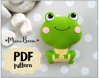 Felt frog pattern PDF tutoriall felt ornaments Frog sewing pattern DIY sewing plushies tutorial ornaments Baby mobile pattern felt