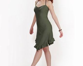 Bohemian dress, pixie dress, ruffle dress, romantic dress, goddess dress, faery dress, summer dress, jersey dress
