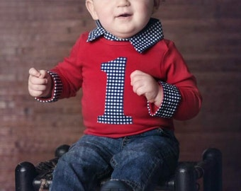 Baby Boy First Birthday Outfit - Cake Smash Outfit Boy - Red Cake Smash Outfit
