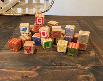 Lot of 27 Wooden Interlocking Alphabet Blocks