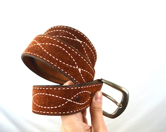 Vintage Suede Leather Western Belt - Size 30 By Justin