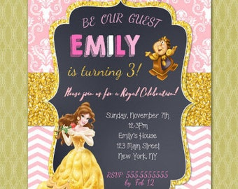 Beauty and the Beast Invitation - Princess Belle Birthday Invitation - Beauty and the Beast Birthday Invite - Belle Birthday Invitations