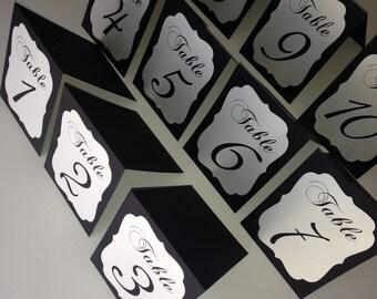 Wedding table numbers tented table numbers black and white table numbers wedding table cards table numbers
