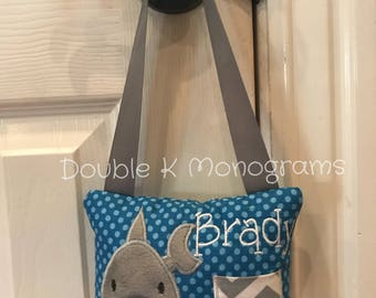 Personalized Shark Toothfairy Pillow / Tooth Holder Door Hanger / Toothfairy Door Hanger