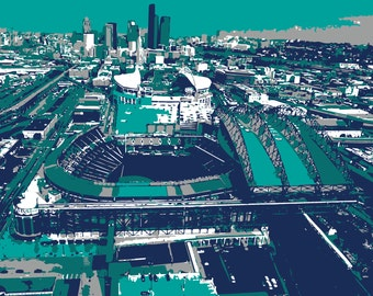 Seattle Mariners art, Safeco Field, Seattle Washington, canvas print, baseball art, man cave, groomsman gift, child's bedroom