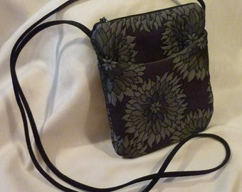 Vintage Purse - Jacquard Designed Purse - Black Background With Grey Daisies  - Perfect Sling Bag for Grab and Go -