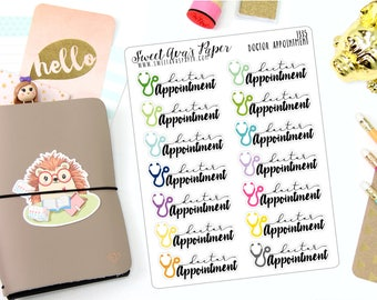Doctor Appointment Planner Stickers - Typography Planner Stickers - Script Planner Stickers - Doctor Planner Stickers - 1335