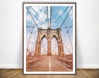 New York Print Brooklyn Bridge Print Brooklyn Poster New York City Poster USA Poster Urban Photography Brooklyn Art Brooklyn Bridge Wall Art