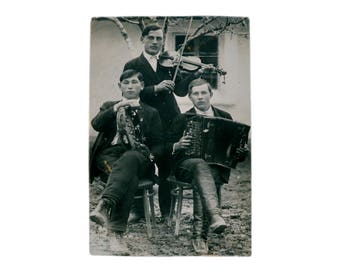 Christmas Real Antique Black & White Photo Postcard Musicians Trio Good Fellows 1910-s Russia Collection Photography