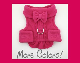 Pink Quilted Fleece & Bow Dog or Puppy Harness Vest