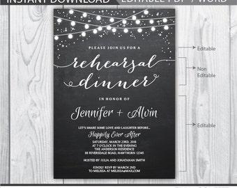 rehearsal dinner invitation / wedding rehearsal invitation / rehearsal dinner invites / chalkboard rehearsal dinner / INSTANT DOWNLOAD