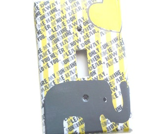 Yellow Gray Switchplate Cover - Elephant Nursery Room - Childs Room - Girls Room - You Are My Sunshine