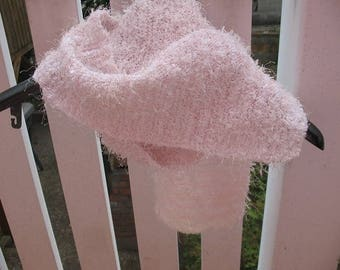 ROSE made in a fine acrylic yarn knit scarf