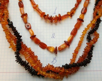 Three necklaces from the Baltic amber.