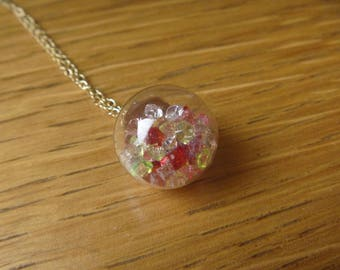 Necklace little diamonds: bubble glass