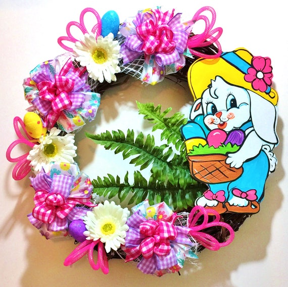 Easter Bunny Basket Eggs Floral - Welcome Door Grapevine Wreath