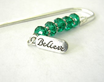 Believe Bookmark with Green Glass Beads Shepherd Hook Steel Bookmark Silver Color