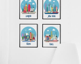 Travel Nursery Decor, Kids Decor, Nursery Set of 4 Prints, Travel Gallery Wall London Paris Nursery Art, Kids Travel Poster, Kids Wall Art