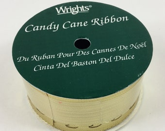 Wrights Gold Metallic Candy Cane Ribbon,6 feet long,USA Made,Shiny,Crafts,Craft Supplies,Sewing,Christmas,Sealed,New