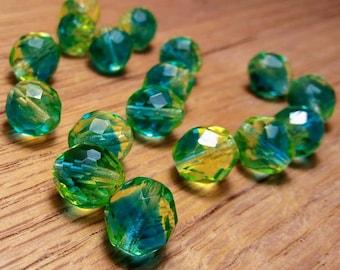 Czech Fire Polished Beads, Green & Yellow, 10 mm, 19ct.